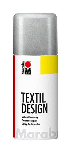 Marabu 17240006782 - Textil Design, Dekorationsspray auf Acrylbasis, schnell trocknend, wetterfest,lichtecht, bedingt waschbeständig,zum kreativen Gestalten auf Stoff,150 ml Sprühdose, metallic silber -