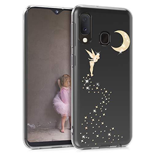 kwmobile Samsung Galaxy A20e Hülle - Handyhülle für Samsung Galaxy A20e - Handy Case in Gold Transparent