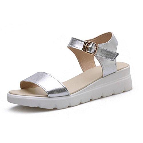 fibbia Word sandali donne scarpe casual open toe con scarpe basse studenti comode spiaggia selvaggia Silver