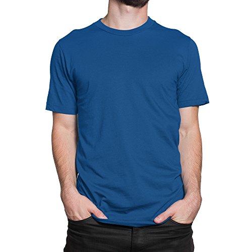 Premium Rundhalsausschnitt T-Shirt Herren/Unisex 100% Baumwolle Einfarbig Größe XS bis 5XL / vanVerden Blau