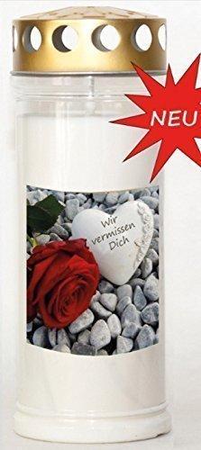 St. Jakob´s Motivkerzen - Grabkerzen in weiß mit Golddeckel - Motiv Steine mit Rose - 24 STÜCK Grablichter mit Deckel - 7 Tage Wochenbrenner Grabkerzen - Friedhofskerze