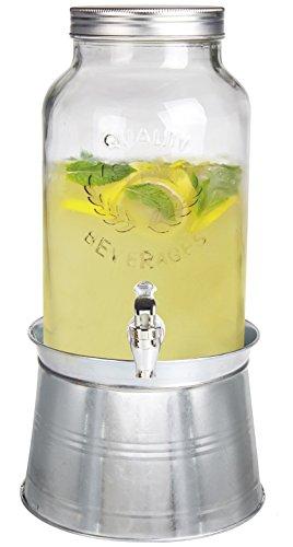 Estilo de Cristal Mason Jar Bebidas Dispensador de Bebidas con Hielo Cubo Soporte y Fugas Libre Espiga, 1,5L