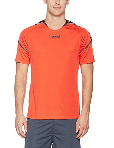 hummel Herren Auth Charge SS Poly Jersey Trikot, Nasturtium/Ombre Blue, M
