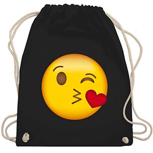 Comic Shirts - Emoji Kuss-Mund - Unisize - Schwarz - WM110 - Turnbeutel & Gym Bag