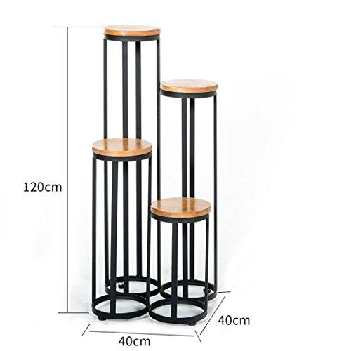 GRY Europäische und amerikanische Eisen Retro Flower Frame Solid Holzboden Stil Multi Storey Balkon...