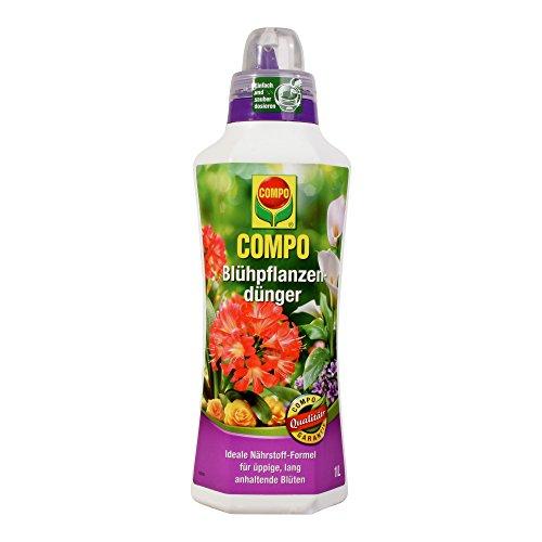 COMPO Blühpflanzendünger für alle Blühpflanzen im Zimmer, auf Balkon und Terrasse, Spezial-Flüssigdünger, 1 Liter