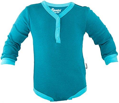 divata Langarm Mitwachsbody mit Henley-Ausschnitt (Junge, Langarm, 80/86) - Babybody aus 100% Baumwolle (Bio) | Erleichtertes An- und Ausziehen -