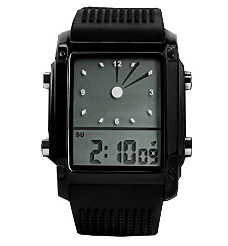 ufengke® rétro cadran rectangle classique montre électronique coréen un bracelet pour les hommes, la qualité fine bande de silicone entreprise montre sport, noir