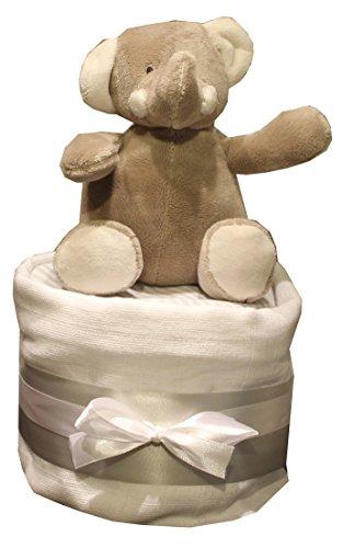 Windeltorte Unisex Elli oder Raff Geschenk-Set Baby Dusche Schwangerschafts-Geschenk Neutral 1Ebene