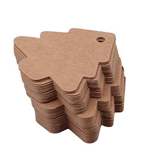 Leayao - 50 tarjetas papel kraft vintage árbol Navidad