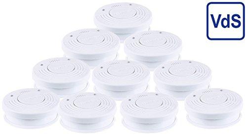 PEARL Brandmelder: Fotoelektrischer Rauchwarnmelder, VDs-Zertifiziert, 10er-Set (Fotoelektrischer...