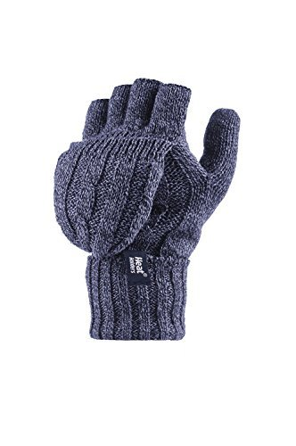 Heat Holders - Damen Thermal Converter Fingerlose Strick Handschuhe 2.3 tog - Blau