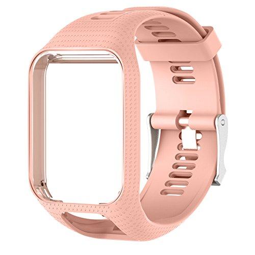 Bracelets de rechange pour montres Tom Tom, Keweni, en silicone - Pour TomTom Runner 3/Spark, rose clair