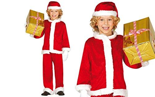 Guirma Costume Babbo Natale Bambino, Sintetico, Rosso/Bianco, 5/6 Anni