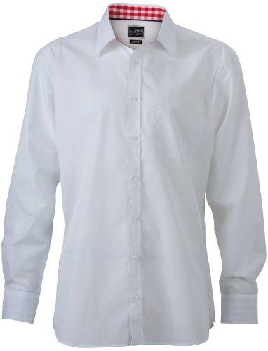 J&N - modisches Herren Uni-Shirt mit Karo-Einsätzen an Kragen und Manschetten (JN619) Weiß/Rot-Weiß
