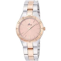 Lotus 0 - Reloj de cuarzo para mujer, con correa de acero inoxidable, color plateado