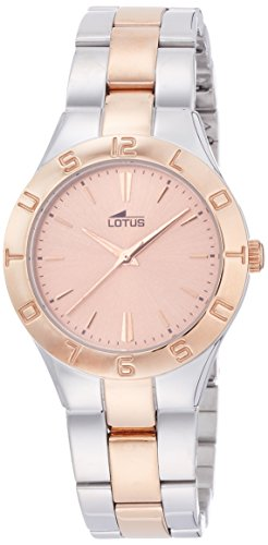 Lotus Women's Quartz Watch with Rose Gold Dial Analogue Display and Two Tone Stainless Steel Rose Gold Plated Bracelet 15896/2