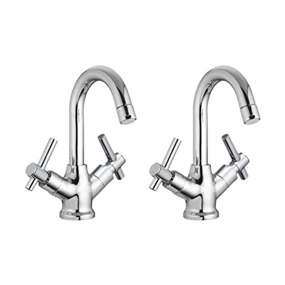 Drizzle Basin Mixer Tarim Brass Chrome Plated/Centre Hole Basin Mixer/Pillar Cock Tap/Water Mixer Tap For Wash Basin/Bathroom Tap/Quarter Turn Foam Flow Tap