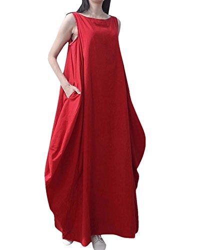 ZANZEA Femme Casual Linge Col Rond Sans Manches à Bretelle Lâce Large Longue Robe Tunique de Cocktail Rouge