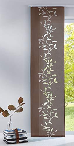 Gardinenbox Moderner Flächenvorhang Schiebegardine aus hochwertigem Ausbrenner-Stoff mit Klettband, Braun Tendril, 2 Stück 245x60 (HxB), 856100