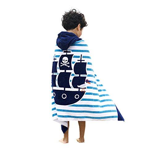 Zilee Kinder Kapuzen Badeponcho Strandtuch Badetuch - Jungen Mädchen Kapuzenhandtuch Baumwolle Bademantel Schwimmen Handtuch Strand Umhang