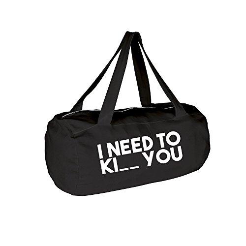 I need Ki__ you Tasche mit Spruch verschiedene Motive & Designs PREMIUM QUALITÄT Collegebag Gymbag Sporttasche (369-Laguna-Schwarz) (Laguna Langarm)