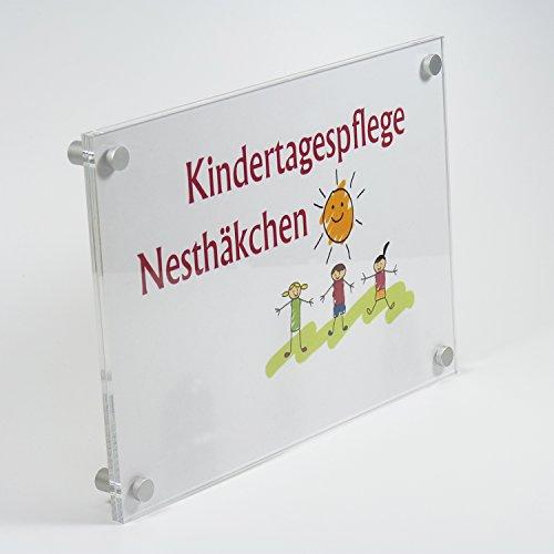 Acrylglas / PLEXIGLAS® Türschild DIN A4 zum selbst beschriften 210 x 297 mm mit 4 Bohrungen inkl. Aluminium Befestigung -