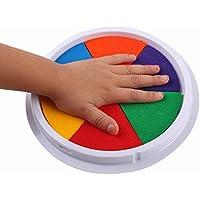 Gusspower 6 colores bricolaje almohadilla de tinta sello dedo artesanía cartulina redonda grande para niños