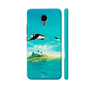 Colorpur YU Yunicorn Cover - Penguins Flying Over Island Printed Back Case