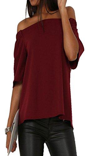Longwu spalla fuori delle donne 3/4 manica lunga allentata tops camicetta vino rosso-l
