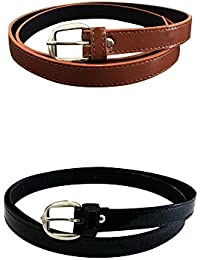 Verceys Tan And Black Casual Glossy Belt For Women And Girls - Pack Of 2