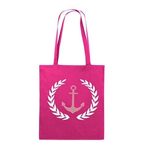 Comedy Bags - Anker Kranz - PABLO ESCOBAR - Jutebeutel - lange Henkel - 38x42cm - Farbe: Royalblau / Weiss-Hellblau Pink / Rosa-Weiss