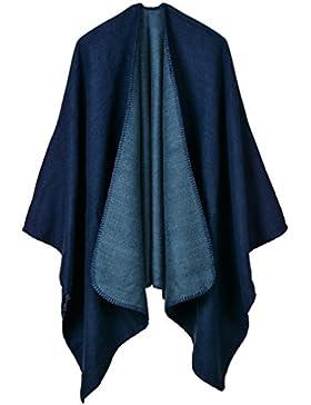 Honghu Mujeres Poncho Cardigan de Punto con Bloques de Colores de Gran Tamaño Manta Capas Bufanda Chal Bufandas...