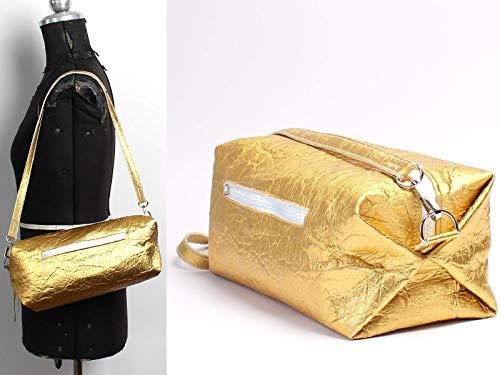 Goldene Tasche aus Piñatex - vegane Ananasfaser