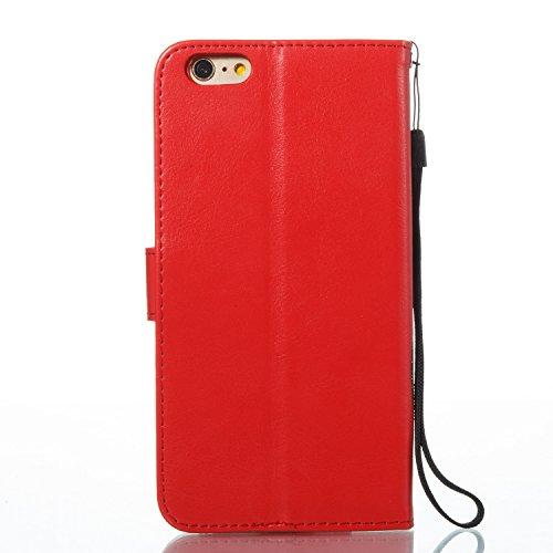 Case MAGQI iPhone 6/6S 4.7 Custodia,Morbido Durevole Portafoglio in Pelle PU Premium Rosa Farfalla Embossed Fiore Modello Copertina Basamento del Telefono Flip Stile Libro Copertura Protettiva Shell P Rosso
