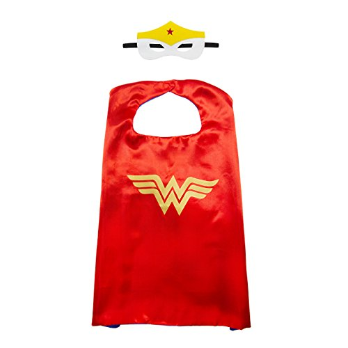 Kiddo Care 1 Satz von Wonder Woman Superheld Cape, Mask, Satin (GIRLS) (Der Joker Weibliche Halloween Kostüm)