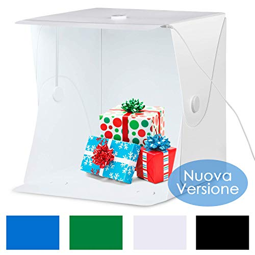 Galleria fotografica Amzdeal Tenda Studio Light Box Fotografico 40 * 40cm Portatile con 6000-6500K LED Strip + Supporto in Metallo + 4 Inferiore Canvas (Nero/Bianco/Blu/Verde)