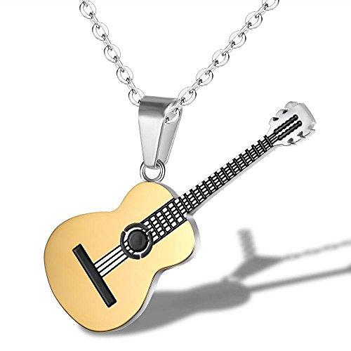 (Yazilind Mode Schmuck Frauen Männer Titan Stahl Halskette Kreative Klassische Musik Gitarre anhänger Charme Kette für Party (Gold))