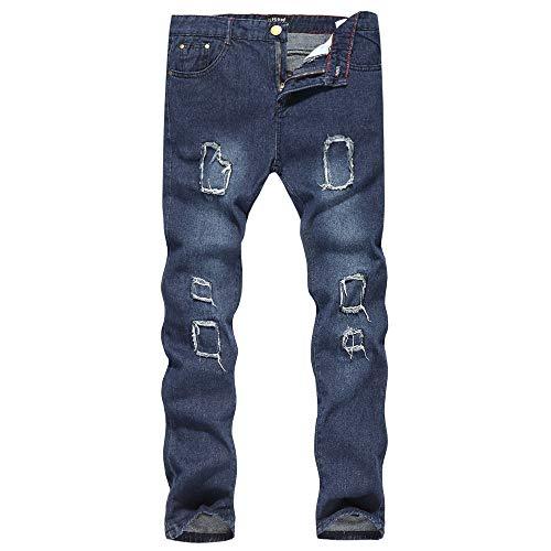 SANFASHION Herren Jeans Männer Loch Treppenhaus Denim Baumwolle Vintage Wash Hip Hop Arbeitshose Hosen