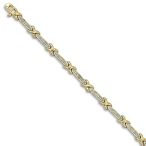 Sterling Silver Vermeil Accent Diamante X (Accent Diamante Bracciale)