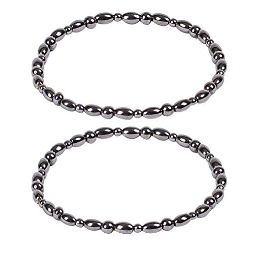 ROSENICE 2 stücke Hämatit Magnetfeldtherapie Fußkettchen Magnetische Armbänder Therapie Heilung Schmuck für Männer Frauen Arthritis und Karpaltunnel Schmerzlinderung (schwarz)