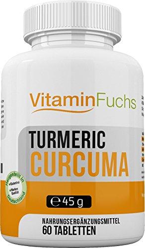 Kurkuma Tumeric mit Bio Curcumin. Hochdosiert aus der Curcuma longa Wurzel Extrakt (Gelbwurz) als Nahrungsergänzung - 60 Tabletten von VitaminFuchs