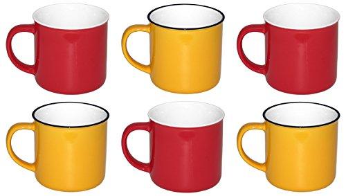 G&M 6 x 350 ml große Keramik Becher in Retro-Emaille-Optik, Kaffeetassen Kaffeebecher Teetasse