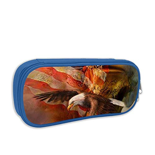 American Bald Eagle Pencil Case Capacity Storage Bag Holder Desk Pen Pencil Marker Stationery Organizer Pencil Pouch with Zipper for Office -