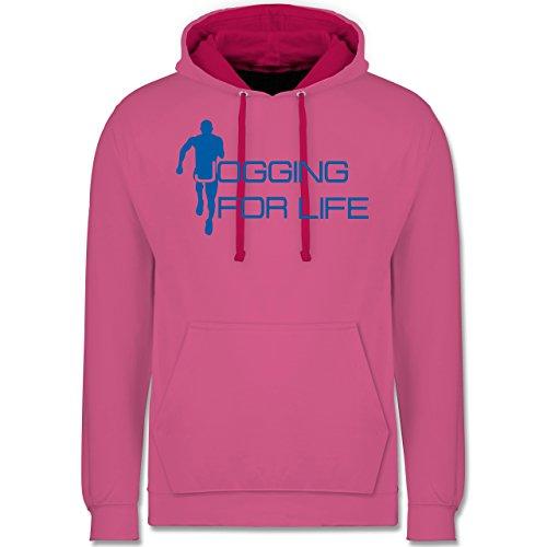 Laufsport - Jogging for Life - Kontrast Hoodie Rosa/Fuchsia