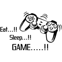 Masrin Game Foever Eat Sleep GAME ON Gamepad Pattern Wallstickers Set Home Decor Funny Slogan Lifestyle Quote Printed Modern PS PS2 PS3 PS4 Controller Pad DualShock Wall Stickers for Hardcore Video Game Players (Black)