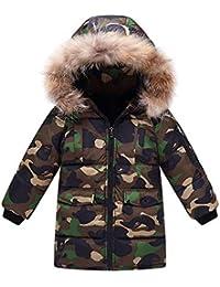 Echinodon Junge Winterjacke mit Fellkapuze Verdickte Lange Jacke Camouflage Winter Parka