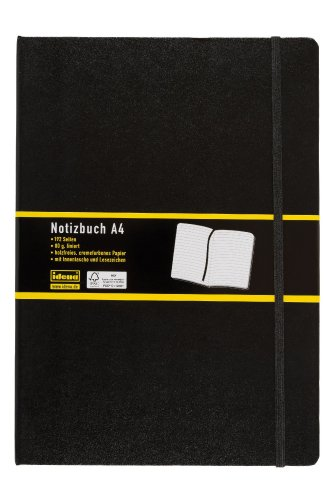 Idena 209292 - Notizbuch DIN A4, 192 Seiten, 80 g/m², liniert, schwarz