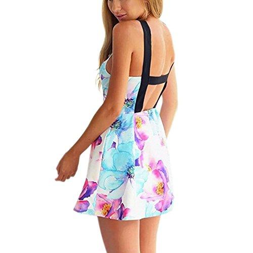 Minetom Damen Sommer Sexy Ärmellos Runder Kragen Floralem Print Minikleid Partykleid Tuchkleid Strandkleid Neckholder Mehrfarbig