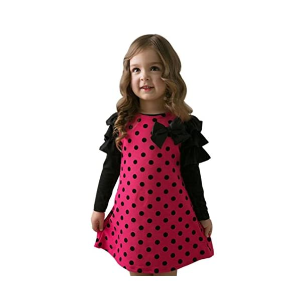 Toddler Kids Baby Girls Long-Sleeved Dot Bow Princess Dress Sundress Outfits Clothes by Kolylong